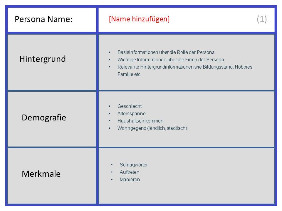 Persona Name: [Name hinzufügen] Basisinformationen über die Rolle der Persona Wichtige Informationen über die Firma der Persona Relevante Hintergrundinformationen wie Bildungsstand, Hobbies, Familie etc.