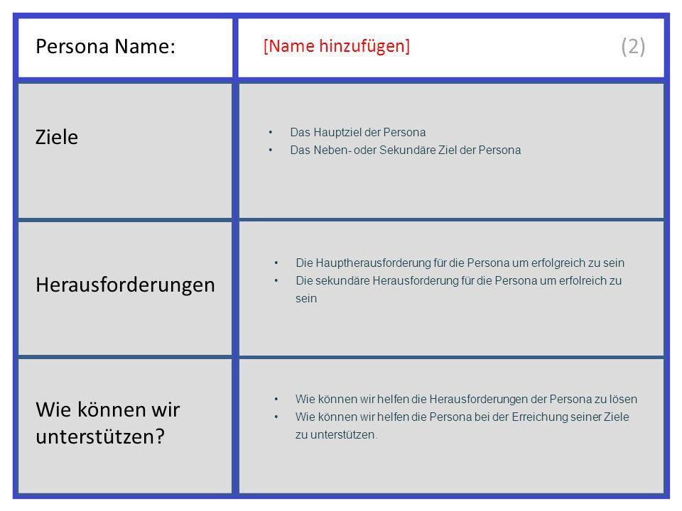 Persona Name: [Name hinzufügen] Das Hauptziel der Persona Das Neben- oder Sekundäre Ziel der Persona Die Hauptherausforderung für die Persona um erfolgreich zu sein Die sekundäre Herausforderung für die Persona um erfolreich zu sein Wie können wir helfen die Herausforderungen der Persona zu lösen Wie können wir helfen die Persona bei der Erreichung seiner Ziele zu unterstützen.