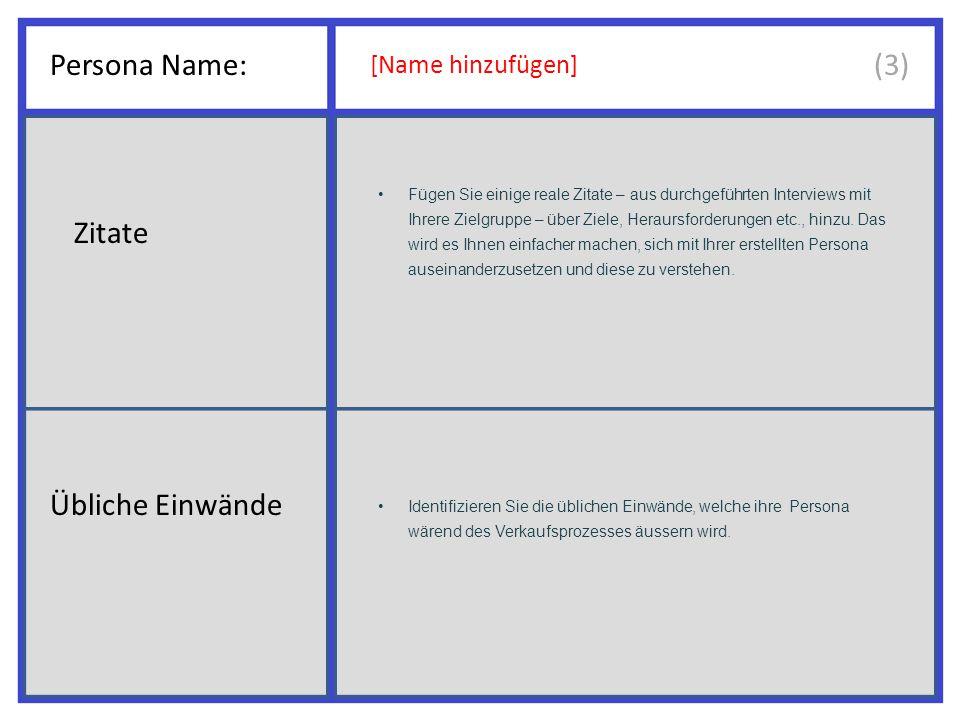 Persona Name: [Name hinzufügen] Fügen Sie einige reale Zitate – aus durchgeführten Interviews mit Ihrere Zielgruppe – über Ziele, Heraursforderungen etc., hinzu.