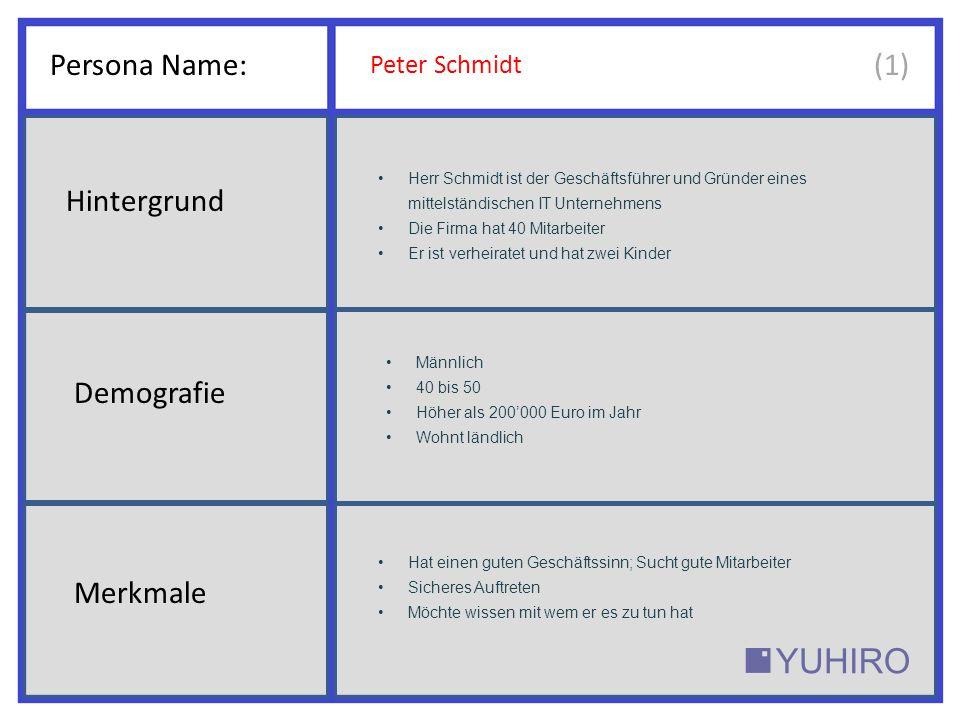 Persona Name: Peter Schmidt Herr Schmidt ist der Geschäftsführer und Gründer eines mittelständischen IT Unternehmens Die Firma hat 40 Mitarbeiter Er ist verheiratet und hat zwei Kinder Männlich 40 bis 50 Höher als 200'000 Euro im Jahr Wohnt ländlich Hat einen guten Geschäftssinn; Sucht gute Mitarbeiter Sicheres Auftreten Möchte wissen mit wem er es zu tun hat Hintergrund Demografie Merkmale (1)