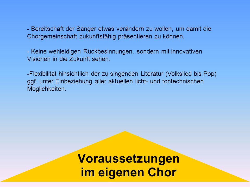 - Bereitschaft der Sänger etwas verändern zu wollen, um damit die Chorgemeinschaft zukunftsfähig präsentieren zu können. - Keine wehleidigen Rückbesin
