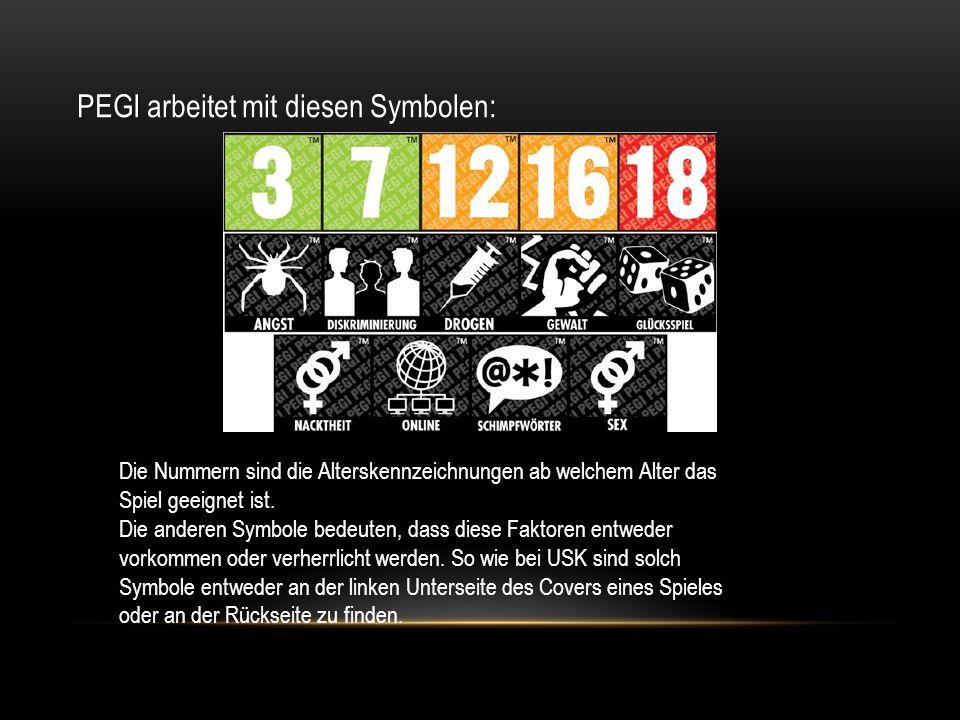 PEGI PEGI arbeitet mit diesen Symbolen: Die Nummern sind die Alterskennzeichnungen ab welchem Alter das Spiel geeignet ist. Die anderen Symbole bedeut