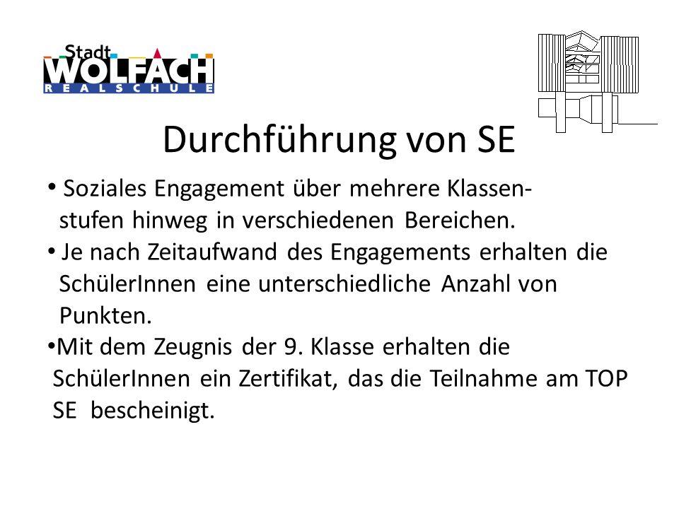 Durchführung von SE Soziales Engagement über mehrere Klassen- stufen hinweg in verschiedenen Bereichen. Je nach Zeitaufwand des Engagements erhalten d