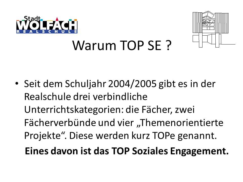 Warum TOP SE ? Seit dem Schuljahr 2004/2005 gibt es in der Realschule drei verbindliche Unterrichtskategorien: die Fächer, zwei Fächerverbünde und vie