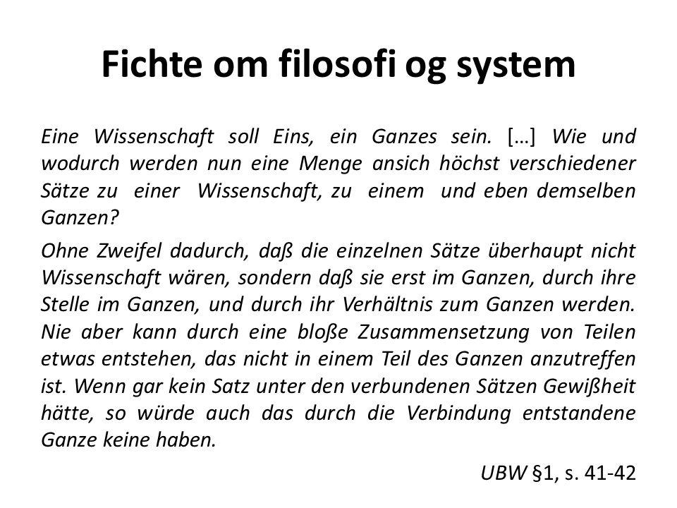 Fichte om filosofi og system Eine Wissenschaft soll Eins, ein Ganzes sein.
