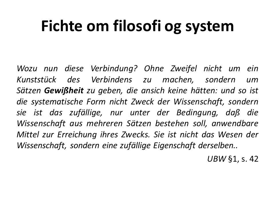 Fichte om filosofi og system Wozu nun diese Verbindung.