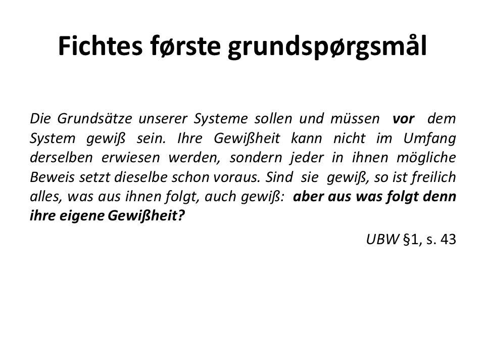 Fichtes første grundspørgsmål Die Grundsätze unserer Systeme sollen und müssen vor dem System gewiß sein.