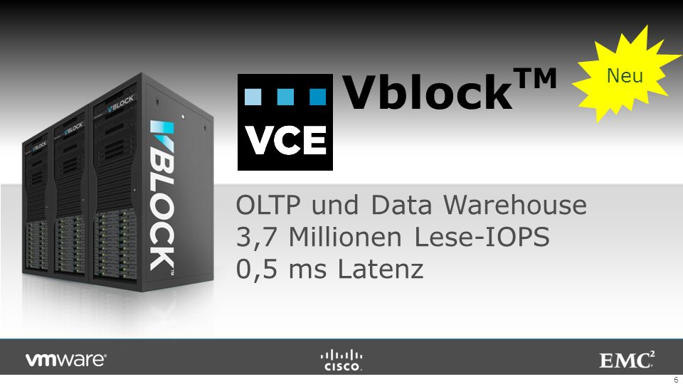 6 OLTP und Data Warehouse 3,7 Millionen Lese-IOPS 0,5 ms Latenz Vblock TM Neu