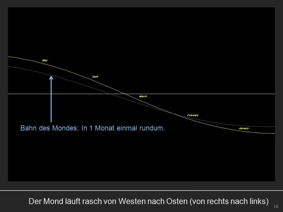 Der Mond läuft rasch von Westen nach Osten (von rechts nach links) 16 Bahn des Mondes: In 1 Monat einmal rundum.