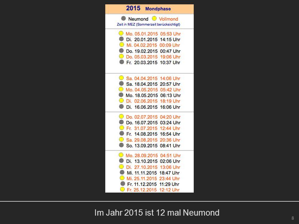 9 Im Jahr 2015 ist 12 mal Neumond.Im Jahr 2015 ereignen sich 2 Sonnenfinsternisse.