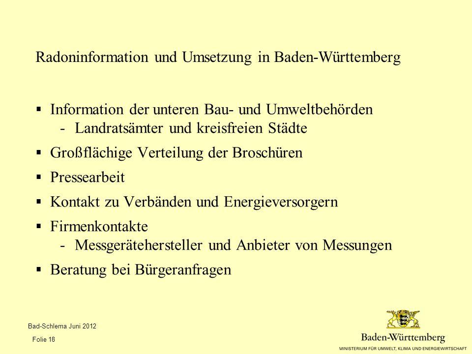  Information der unteren Bau- und Umweltbehörden -Landratsämter und kreisfreien Städte  Großflächige Verteilung der Broschüren  Pressearbeit  Kont