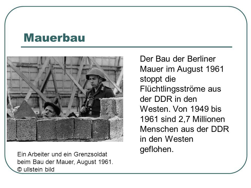 Mauerbau Der Bau der Berliner Mauer im August 1961 stoppt die Flüchtlingsströme aus der DDR in den Westen. Von 1949 bis 1961 sind 2,7 Millionen Mensch
