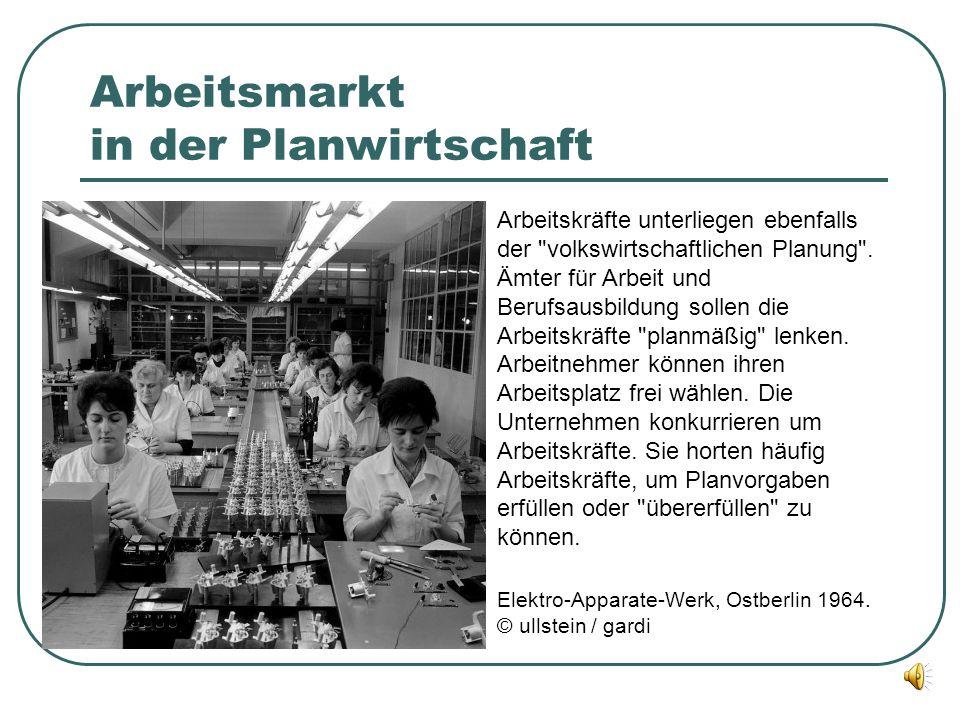 Arbeitsmarkt in der Planwirtschaft Arbeitskräfte unterliegen ebenfalls der