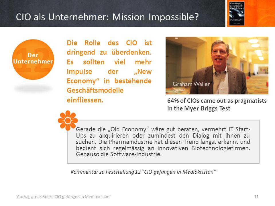 CIO als Unternehmer: Mission Impossible.