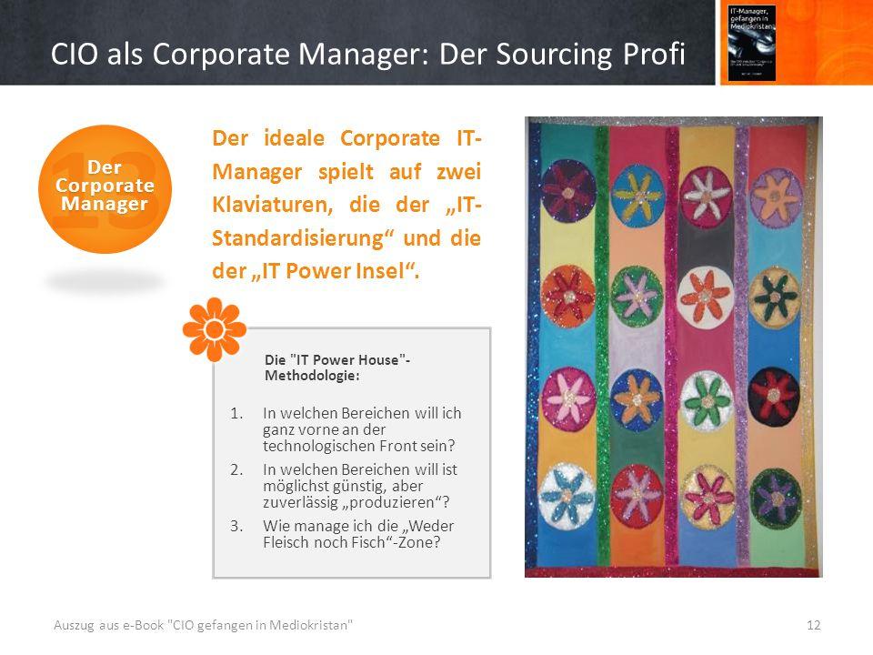 """CIO als Corporate Manager: Der Sourcing Profi Der ideale Corporate IT- Manager spielt auf zwei Klaviaturen, die der """"IT- Standardisierung und die der """"IT Power Insel ."""