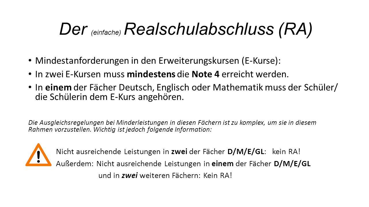 Der (einfache) Realschulabschluss (RA) Mindestanforderungen in den Erweiterungskursen (E-Kurse): In zwei E-Kursen muss mindestens die Note 4 erreicht