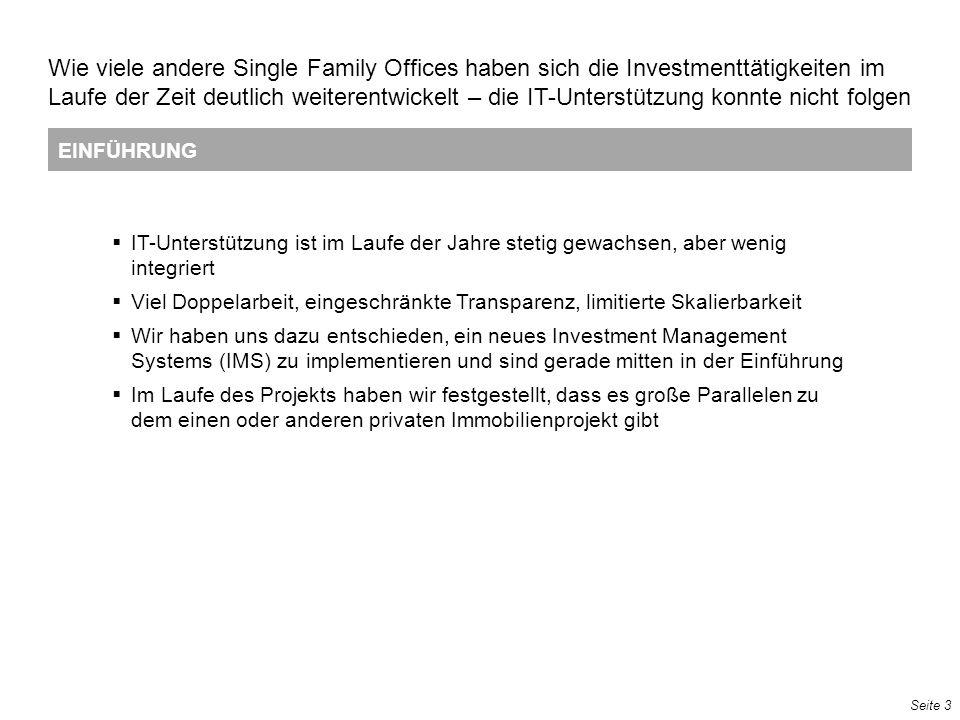 Seite 3 EINFÜHRUNG Wie viele andere Single Family Offices haben sich die Investmenttätigkeiten im Laufe der Zeit deutlich weiterentwickelt – die IT-Un