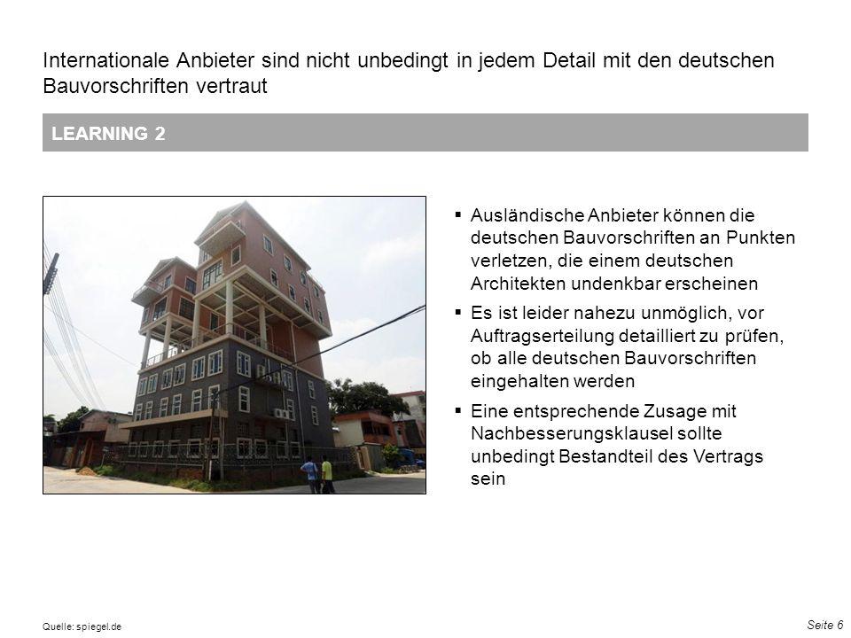 Seite 6 LEARNING 2 Internationale Anbieter sind nicht unbedingt in jedem Detail mit den deutschen Bauvorschriften vertraut 13 72 121 51 102 153 111 14