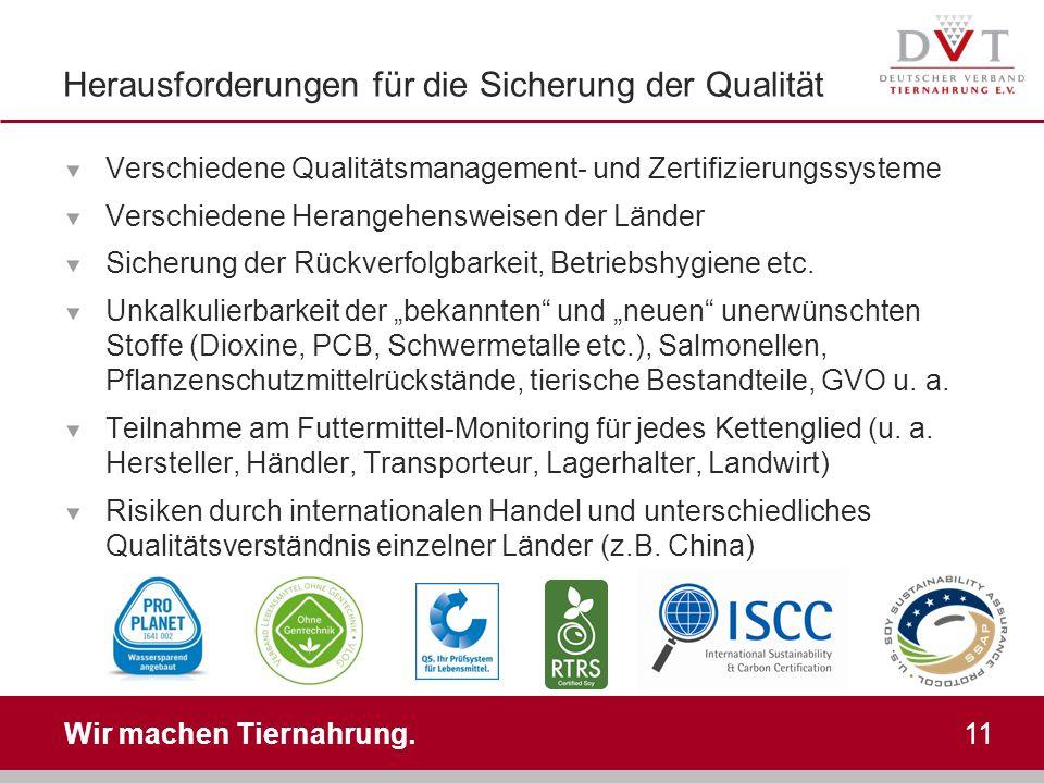 Wir machen Tiernahrung. 11 Herausforderungen für die Sicherung der Qualität Verschiedene Qualitätsmanagement- und Zertifizierungssysteme Verschiedene