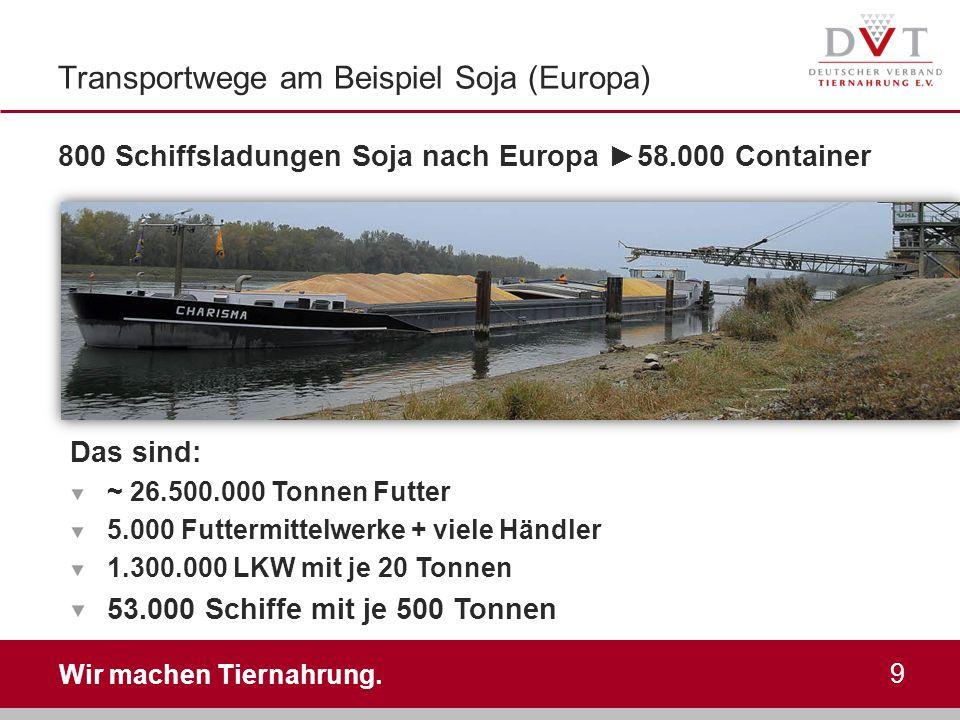 Wir machen Tiernahrung. Transportwege am Beispiel Soja (Europa) 800 Schiffsladungen Soja nach Europa ► 58.000 Container 9 Das sind: ~ 26.500.000 Tonne