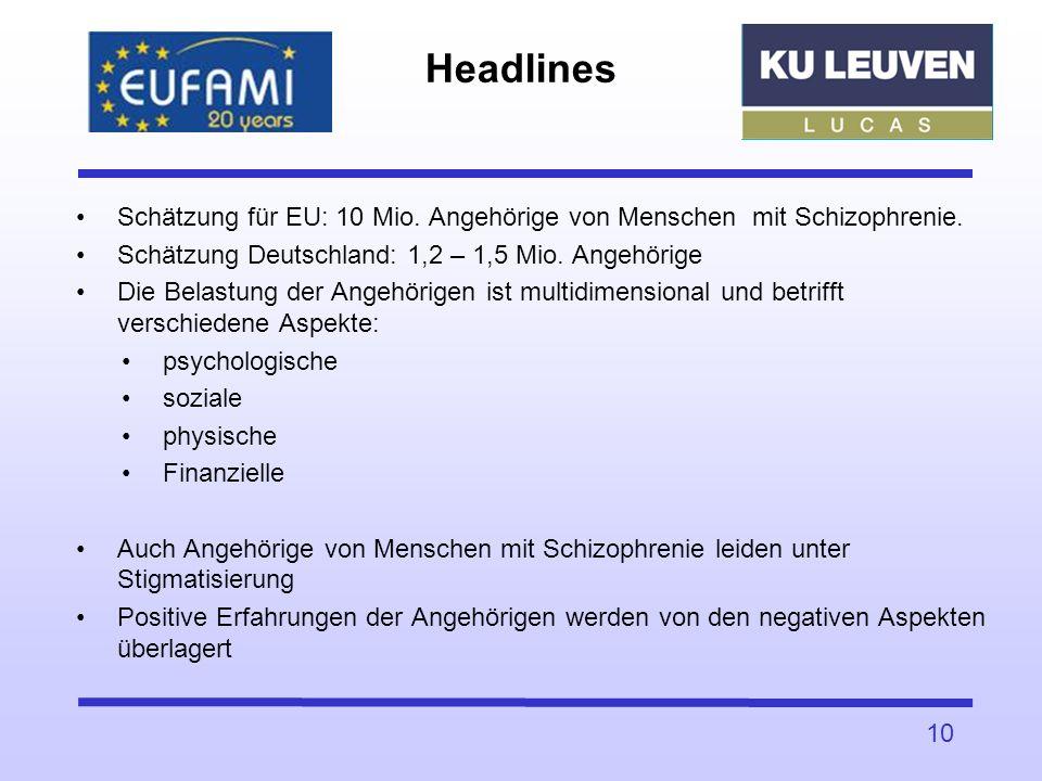 Schätzung für EU: 10 Mio. Angehörige von Menschen mit Schizophrenie. Schätzung Deutschland: 1,2 – 1,5 Mio. Angehörige Die Belastung der Angehörigen is
