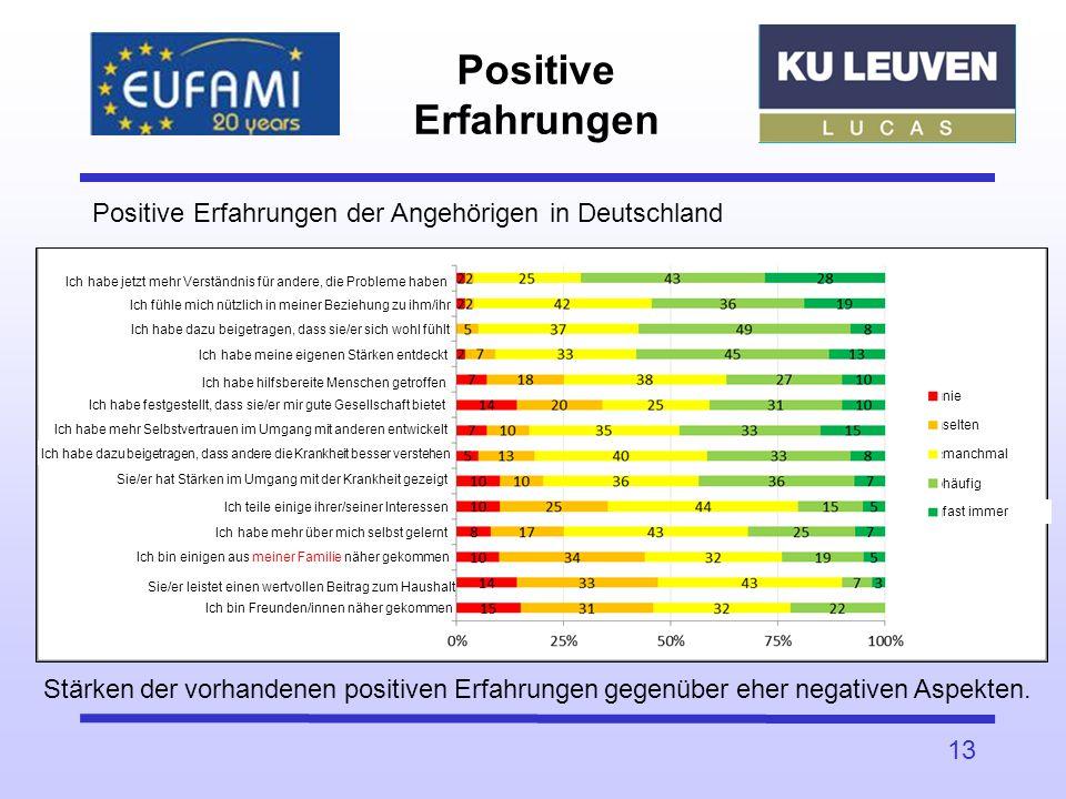 Positive Erfahrungen 13 Positive Erfahrungen der Angehörigen in Deutschland Stärken der vorhandenen positiven Erfahrungen gegenüber eher negativen Asp