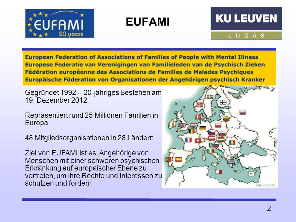 2 EUFAMI Gegründet 1992 – 20-jähriges Bestehen am 19. Dezember 2012 Repräsentiert rund 25 Millionen Familien in Europa 48 Mitgliedsorganisationen in 2