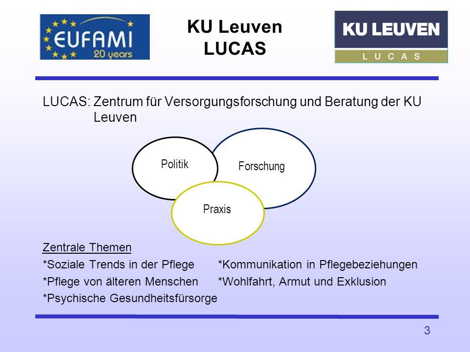 KU Leuven LUCAS LUCAS: Zentrum für Versorgungsforschung und Beratung der KU Leuven Zentrale Themen *Soziale Trends in der Pflege*Kommunikation in Pfle