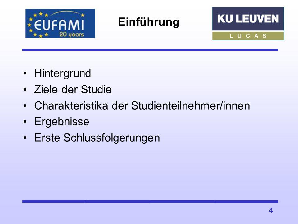 Einführung Hintergrund Ziele der Studie Charakteristika der Studienteilnehmer/innen Ergebnisse Erste Schlussfolgerungen 4