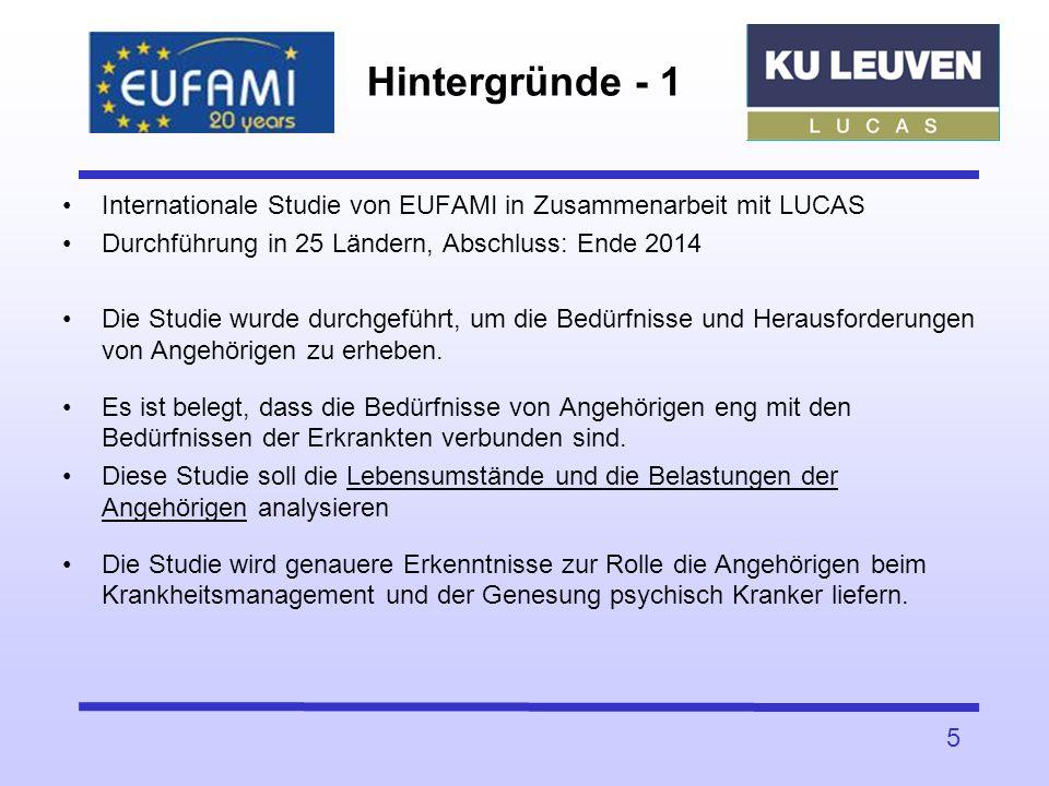 Hintergründe - 1 Internationale Studie von EUFAMI in Zusammenarbeit mit LUCAS Durchführung in 25 Ländern, Abschluss: Ende 2014 Die Studie wurde durchg