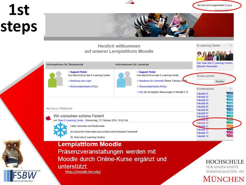 Lernplattform Moodle Präsenzveranstaltungen werden mit Moodle durch Online-Kurse ergänzt und unterstützt.