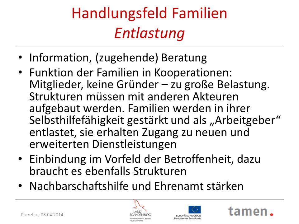 Prenzlau, 08.04.2014 Handlungsfeld Familien Entlastung Information, (zugehende) Beratung Funktion der Familien in Kooperationen: Mitglieder, keine Grü