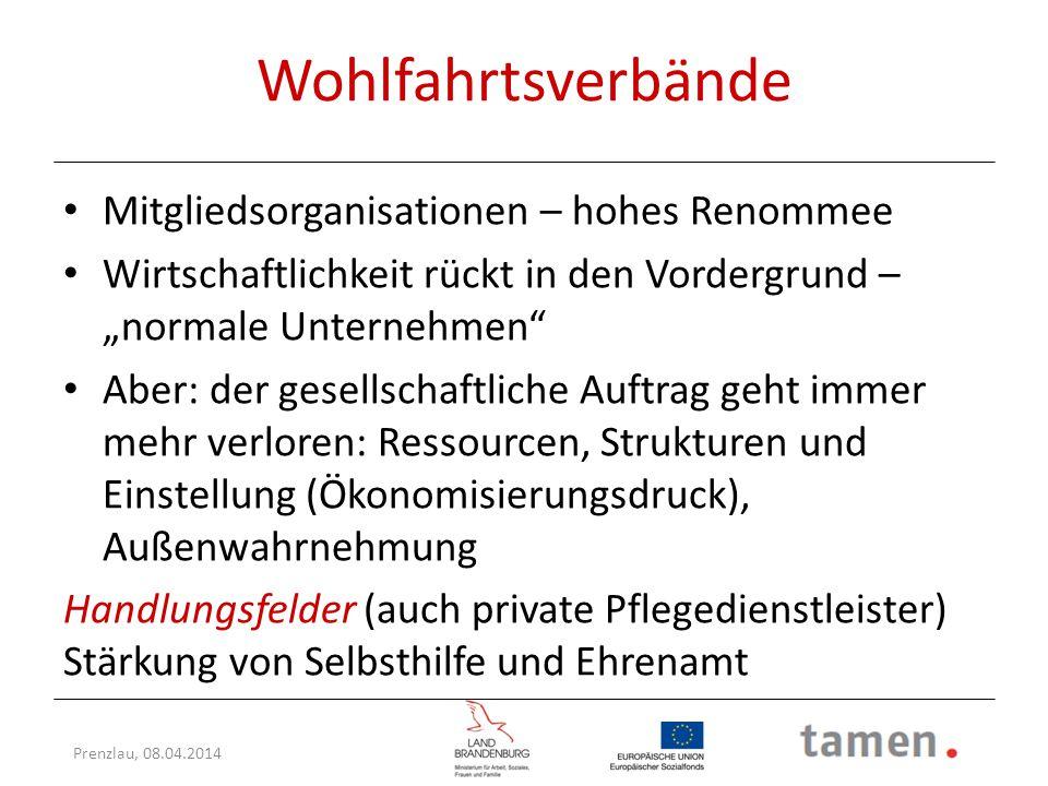 """Prenzlau, 08.04.2014 Wohlfahrtsverbände Mitgliedsorganisationen – hohes Renommee Wirtschaftlichkeit rückt in den Vordergrund – """"normale Unternehmen"""" A"""