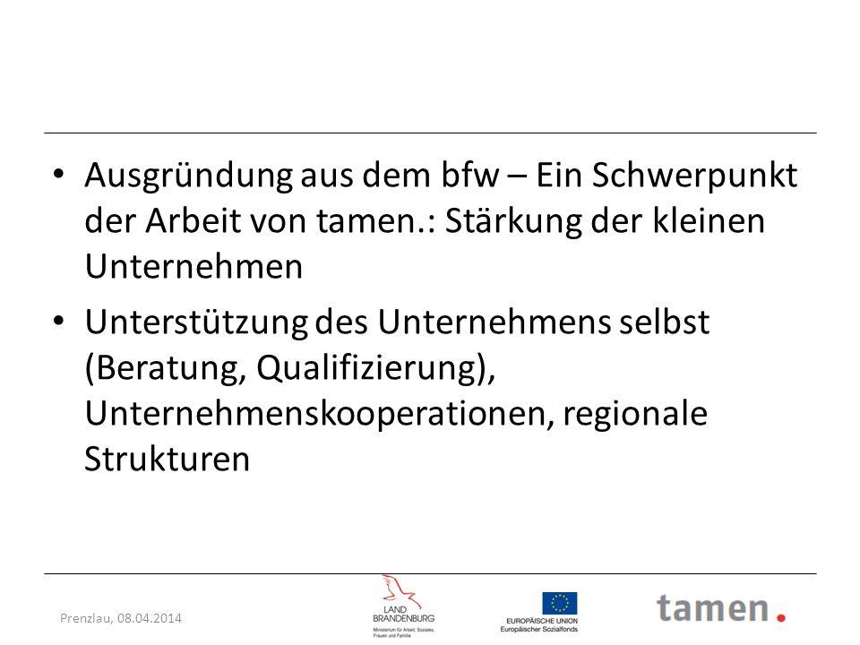Prenzlau, 08.04.2014 Ausgründung aus dem bfw – Ein Schwerpunkt der Arbeit von tamen.: Stärkung der kleinen Unternehmen Unterstützung des Unternehmens