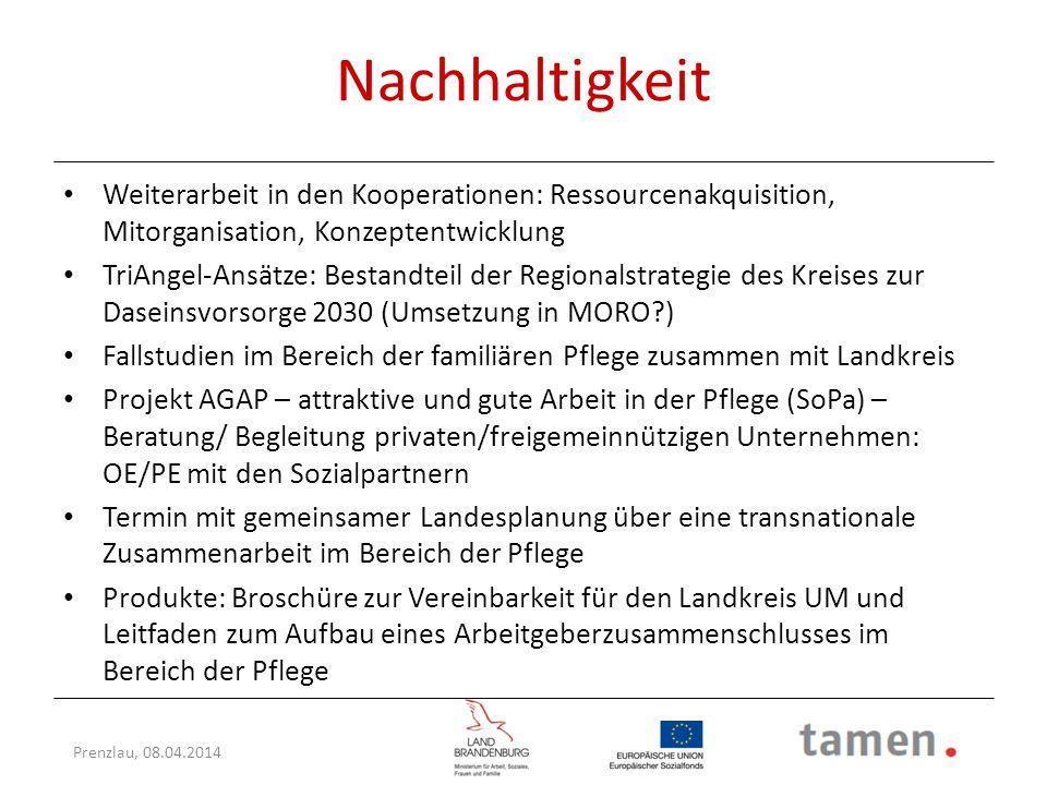 Prenzlau, 08.04.2014 Nachhaltigkeit Weiterarbeit in den Kooperationen: Ressourcenakquisition, Mitorganisation, Konzeptentwicklung TriAngel-Ansätze: Be