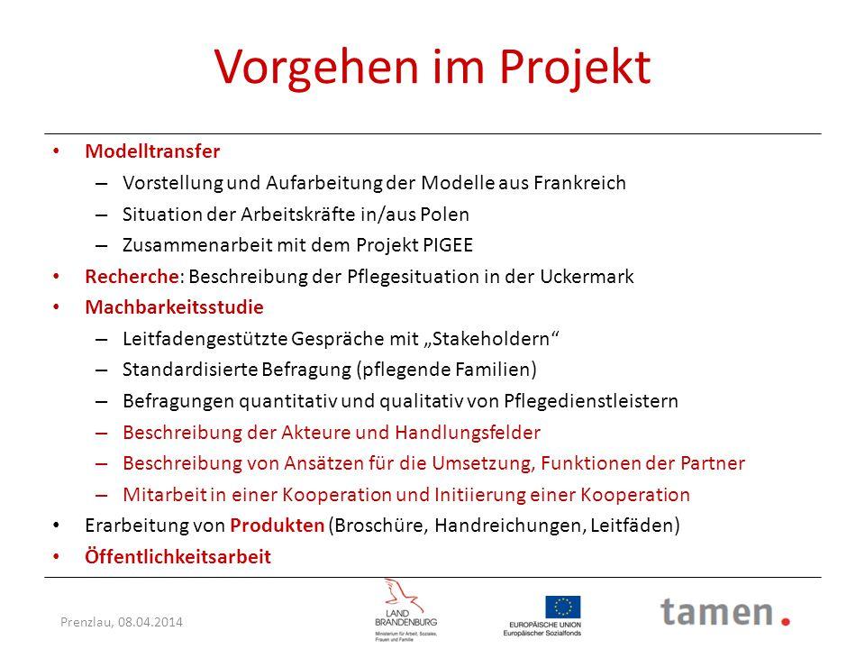 Prenzlau, 08.04.2014 Pflegesituation in der Uckermark 2011 (2009) Quelle: Amt für Statistik Berlin-Brandenburg, ZAB: Informationssystem Pflege