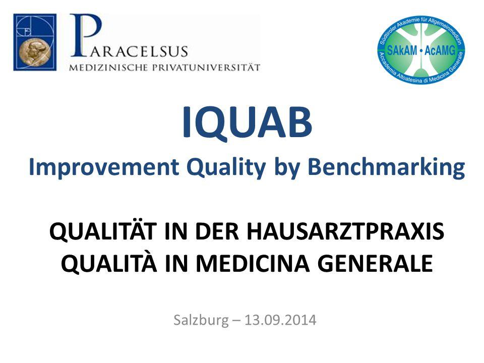 IQUAB Improvement Quality by Benchmarking QUALITÄT IN DER HAUSARZTPRAXIS QUALITÀ IN MEDICINA GENERALE Salzburg – 13.09.2014
