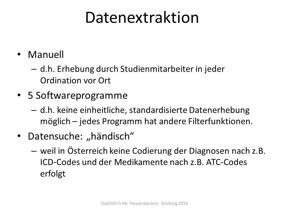 Datenextraktion Manuell – d.h. Erhebung durch Studienmitarbeiter in jeder Ordination vor Ort 5 Softwareprogramme – d.h. keine einheitliche, standardis