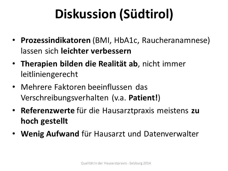 Diskussion (Südtirol) Prozessindikatoren (BMI, HbA1c, Raucheranamnese) lassen sich leichter verbessern Therapien bilden die Realität ab, nicht immer l