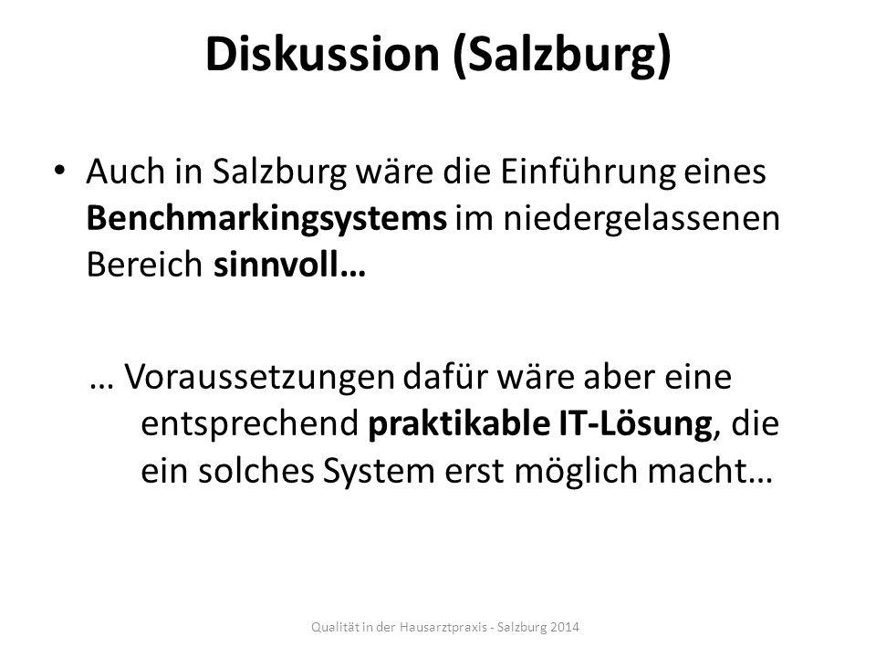 Diskussion (Salzburg) Auch in Salzburg wäre die Einführung eines Benchmarkingsystems im niedergelassenen Bereich sinnvoll… … Voraussetzungen dafür wär