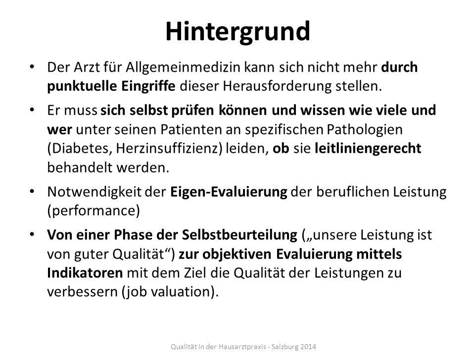 Ziele Die medizinische Versorgung chronisch Kranker in Salzburg und Südtirol durch leitliniengerechte(re) Diagnostik, medikamentöse Therapie und Weiterbetreuung von 1.