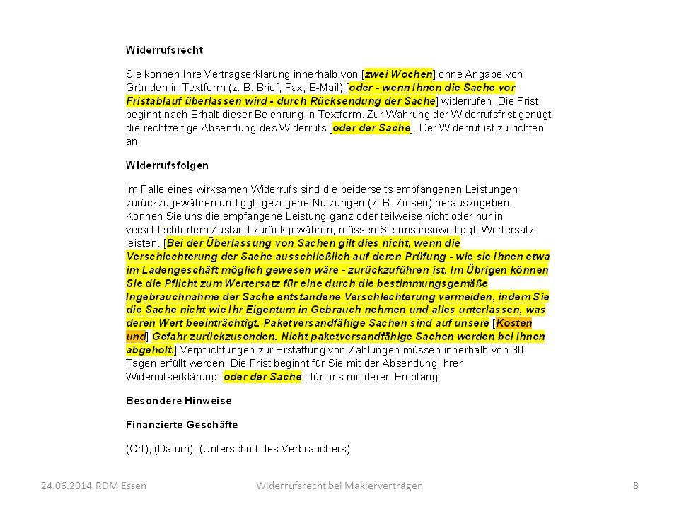 Höhe des Wertersatzes Wert der anteiligen Leistung, wenn ausdrücklich vereinbart Bei Abschluss des Hauptvertrages = übliche Provision BGH Urteil vom 19.07.2012 – III ZR 252/11 BGH Urteil vom 01.03.2012 – III ZR 83/11 (Urteile z.