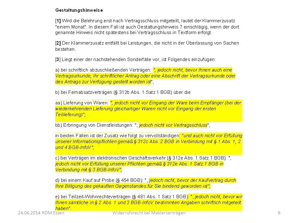 24.06.2014 RDM EssenWiderrufsrecht bei Maklerverträgen10