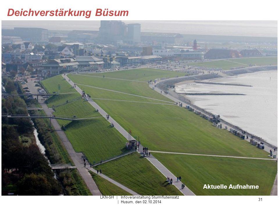 31 LKN-SH | Infoveranstaltung Sturmfluteinsatz | Husum, den 02.10.2014 Deichverstärkung Büsum Aktuelle Aufnahme