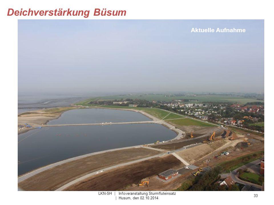 33 LKN-SH | Infoveranstaltung Sturmfluteinsatz | Husum, den 02.10.2014 Deichverstärkung Büsum Aktuelle Aufnahme
