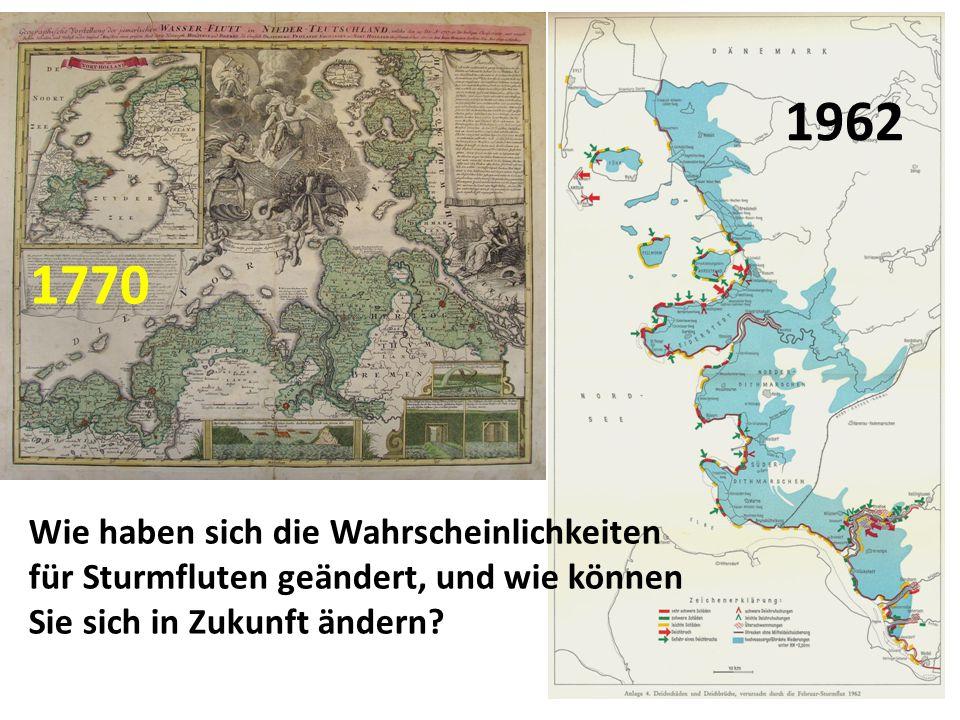 Wie haben sich die Wahrscheinlichkeiten für Sturmfluten geändert, und wie können Sie sich in Zukunft ändern? 1962 1770