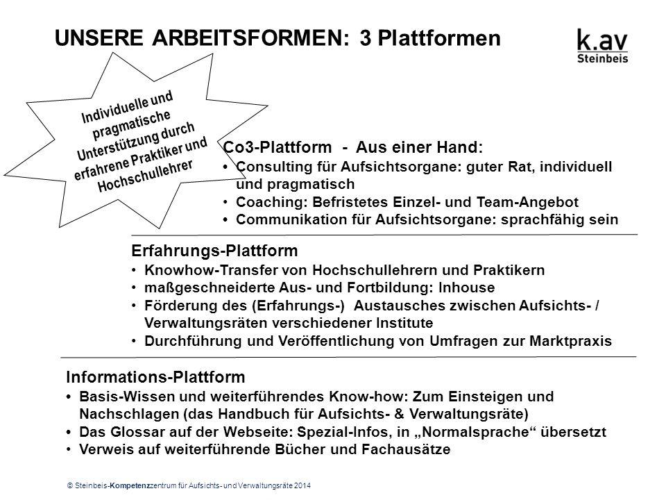 © Steinbeis-Kompetenzzentrum für Aufsichts- und Verwaltungsräte 2014 UNSERE ARBEITSFORMEN: 3 Plattformen Individuelle und pragmatische Unterstützung d
