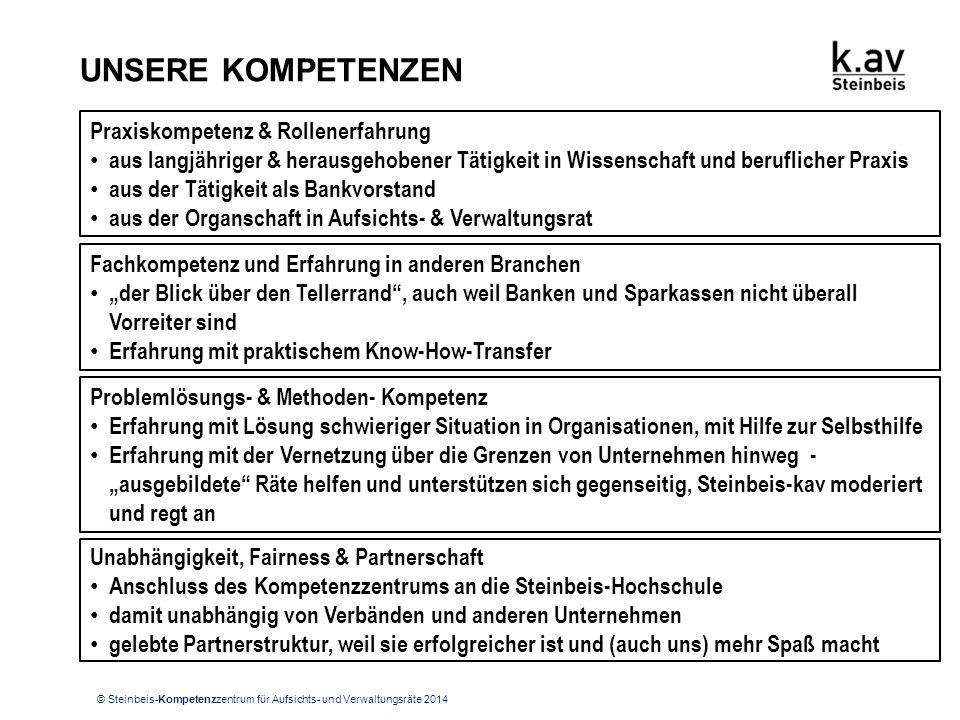 """© Steinbeis-Kompetenzzentrum für Aufsichts- und Verwaltungsräte 2014 UNSERE KOMPETENZEN Fachkompetenz und Erfahrung in anderen Branchen """"der Blick übe"""