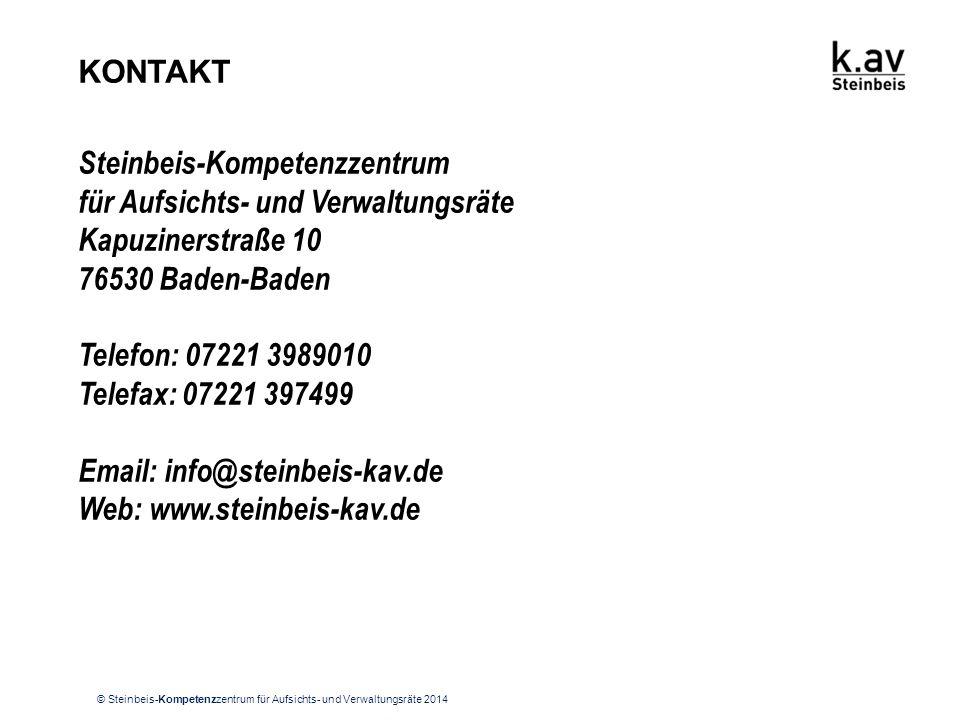 © Steinbeis-Kompetenzzentrum für Aufsichts- und Verwaltungsräte 2014 KONTAKT Steinbeis-Kompetenzzentrum für Aufsichts- und Verwaltungsräte Kapuzinerst
