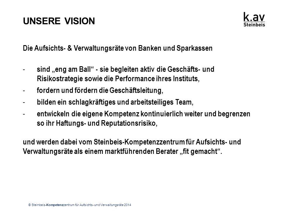 """© Steinbeis-Kompetenzzentrum für Aufsichts- und Verwaltungsräte 2014 UNSERE VISION Die Aufsichts- & Verwaltungsräte von Banken und Sparkassen - sind """""""